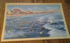 LINEN POSTCARD 14TH STREET SURF BATHING OCEAN CITY N.J. 1949