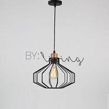 Modern Vintage Timber Wood Lantern Metal Cage Hanging Ceiling Pendant Light Bar