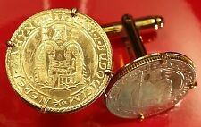 1937 Czech Saint King Wenceslaus I w/ Sword, Shield & Armor Gold Coin Cufflinks!