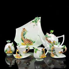 16PC Ceramic giraffe  Platter &Pot &Creamer &Sugar Bowl 4 Cups 4 Saucers 4 Spoon