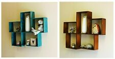 Wall Mounted Storage Shelf Wood Distressed 5 Slot Blue Brown House Shaped shelve