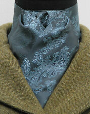 Ready Tied Airforce Blue and Sky Paisley Satin Riding Stock - Show Event Hunting