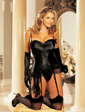 Shirley of Hollywood Shirred Charmeuse Black Bustier Size 32