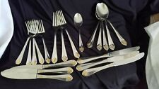 Wallace St. Regis Gold Trim Flatware Lot 20 pieces Knives Forks Spoons Used 18/8
