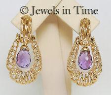 Amethyst Briolette Door Knocker Earrings in 14k Yellow Gold
