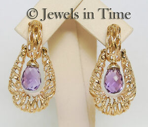 Amethyst Briolette Door Knocker Earrings in 14k Yellow Gold