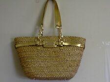 MICHAEL KORS Hamilton natural Straw Large Chain Tote Handbag NWT