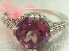 Alexandrite 4ct FINE Rare Big COLOR CHANGE Flower set Silver .925 RING Sz 6