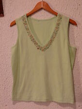Womens Top ~*~ Mint Green ~ Beads & Stones At Decolletage ~ V Neck ~Sleeveless