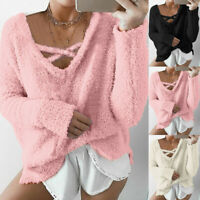 Women's Long Sleeve Fleece Loose Winter Warm Sweater Jumper Pullover V-Neck Tops