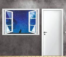 Wandtattoo Fenster 3D Optik Wandsticker Aufkleber Deko Bild - Wolf Sternenhimmel