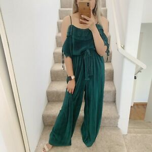 Zara Emerald Green Ribbed Off The Shoulder Ruffle Belted Jumpsuit M