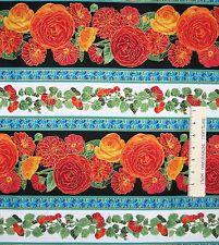 Ranunculus Fabric - Arcadia Orange & Blue Floral Stripe - Timeless Treasures YAR