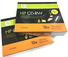 10 Pieces HP Logo 12X CD-RW CDRW ReWritable Blank Disc 700MB in Slim Jewel Case