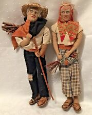 Antique Handmade Stockinette Dolls Molded Cloth Old Peasant Couple Man Woman 14�
