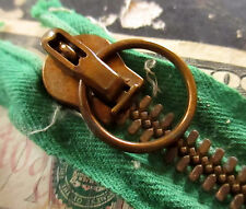"True Vtg 4.5""  MILITARY CC BRASS Heavy COVERALL POCKET RING ARMY Zipper USA GREE"