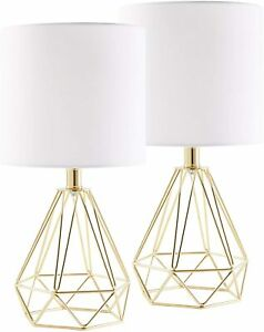 CO-Z Modern Table Lamps for Living Room Bedroom Set of 2, Gold Desk Lamp with Ho