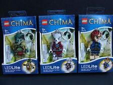 New LEGO CHIMA 3pc Keychain Flashlight LED Lite Minifigure Light Worriz Cragger