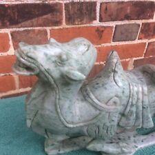 More details for huge 4kg hand carved asian green aventurine asian gemstone sculpture of a camel