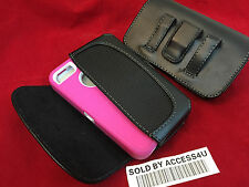 BLACK LEATHER HOLSTER BELT CLIP POUCH FOR IPHONE 6 PLUS EXTENDED BATTERY CASE