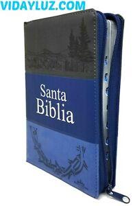 BIBLIA REINA VALERA 1960,LETRA GRANDE con CIERRE E INDEX, PIEL AZUL/NEGRO