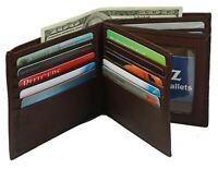 Genuine Leather Men's Bifold Wallet Hipster Credit Card New Brown Large