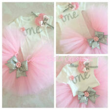 First birthday outfit,Silver One Bodysuit,Pink And Silver,handmade