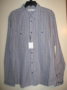 Calvin Klein Mens Long Sleeve Dress Shirt Button Front L NWT Blue Plaid