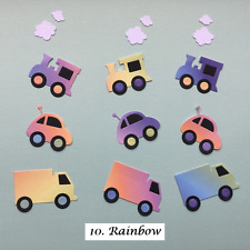 Car, Van & Train Mini Vehicle Die Cuts - Assorted Colours in sets of 9