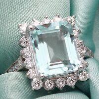 9.20 Carats NATURAL AQUAMARINE and DIAMOND 14K Solid White Gold Ring