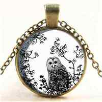 Vintage Owl Birds Wildlife Moon Cabochon Glass Bronze Chain Pendant Necklace