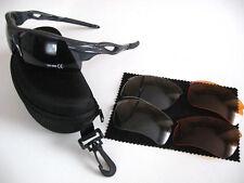 Sport- Sonnenbrille Gestell GRAU  mit 3 Paar  Wechselgläser +  Case mit RV