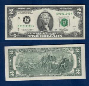 Ultra rare Binary serial $2 bill Beautiful, Minneapolis UNC MINT GEM;#01011101