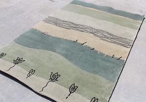 R14727 Gorgeous contemporary Tibetan Woolen Area Rug 5' X 8' Green Color Flow