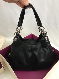 Coach Maggie Mia Handbag Tote Black Leather Hobo $358 Retail