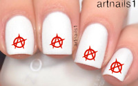 Anarchy Punk Red Nail Art Water Decals Stickers Manicure Salon Mani Polish Gift