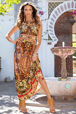 NEW Boston Proper Moroccan Dream Exotic Sexy Keyhole Maxi Dress 14 $149 Stunning