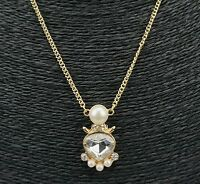 Pearl Silver Crystal Pendant Chain Charm Gold Tone Necklace UK