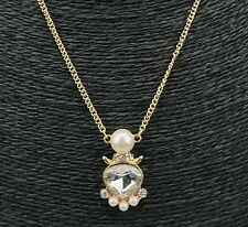 Pearl Silver Crystal Pendant Chain Charm Gold Tone Necklace UK Shop