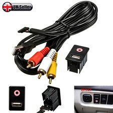 Car Dash Flush Mount 3.5mm AUX & USB MALE 3 RCA Extension Cable Lead Socket -UK