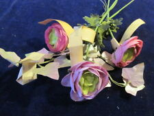 "Vtg Shabby Millinery Flower Collection Pink Green Lilac 1 3/4"" Ranunculus H2371"