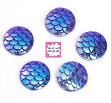 20 x 12mm Puprle Resin Mermaid Fish/Dragon Scale Beads Flat Bottom Cabochon