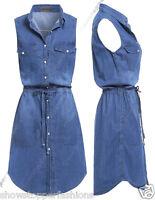 NEW Womens Longline Denim Shirt Dress Ladies Jean Dresses Size 8 10 12 14