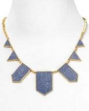 HOUSE OF HARLOW 1960 Gold Plate & Light Blue Leather Five Station Necklace.