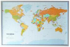 Weltkarte Kork Pinnwand englisch 12 Pinn Fähnchen 90x60cm #199061