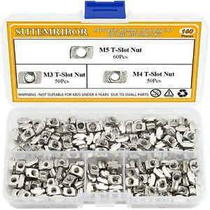 Sutemribor 160 Pcs 2020 Series T Nuts, M3 M4 M5 T Slot Nut Hammer Head Fasten...