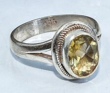 Sterling Silver Tradtional Asian Vintage Style Yellow Quartz Ring Size R1/2 Gift