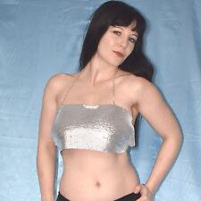 metallic STRASS KETTEN BH* Oberteil in silber* Bikini Bustier* Körperkette