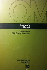 John Deere 37A Snow Thrower Owner Manual 20pg 110 112 LAWN GARDEN TRACTOR Blower