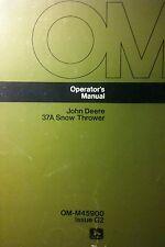 John Deere 37 37A Snowblower Owner & Parts  (2 Manuals) 34pg 112 Garden Tractor